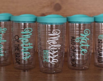 set of 7 bridesmaid tumblers, set of 7 bridesmaid gifts, wedding party tumblers, tervis style tumblers, bridesmaid gift set, personalized