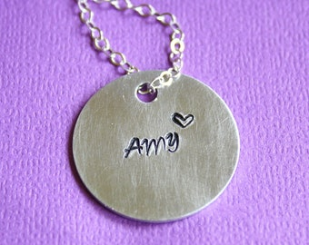 Aluminum Disc Necklace - Hand Stamped Jewelry - Gift - Custom Name Pendant - Personalized
