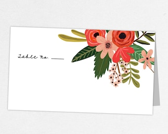 Floral Escort Card, Floral Place Card, Printed Escort Cards, Printed Place Cards, Escort Card, Place Card, Watercolor, Flowers, Arabella