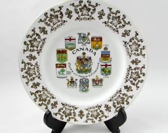 Paragon Canada Coat of Arms Plate, Vintage Bone China, Canadiana, Canadian Plate, 8 Inch Plate