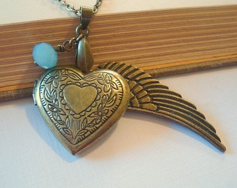 Heart Locket Necklace with Angel Wing Brass Locket Brass Heart Locket Necklace Locket Jewerly