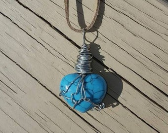 Turquoise Heart Stone necklace *handmade~wire wrapped*