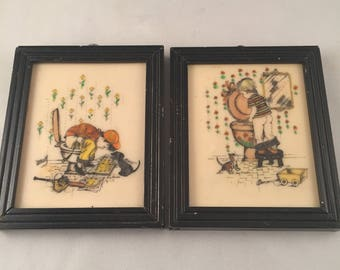 2 Vintage Framed Etched Paintings Bathroom Potty Art By Kay Harsha