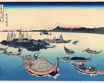 "Japanese Ukiyo-e Woodblock print, Hokusai, ""Tsukuda Island in Musashi Province"""