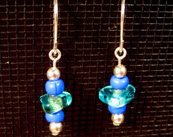 Sterling Silver Ocean Colors Glass Dangle Earrings