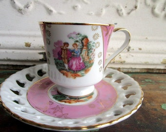 Vintage Teacup Tea Cup and Saucer Pedestal Lusterware pink with Courting Couple