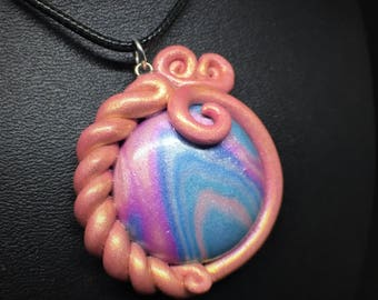 Unicorn Swirl Pastel Lolita Pendent Necklace, Polymer Clay, Pink Bow Art Jewelry