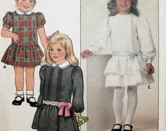 Child's Dress - Girl's Dress - Sewing Pattern - Butterick 6713 - Vintage - New - Uncut - Size 3