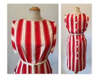 Vintage 70s Shift Dress S Lipstick Red n White Stripes, Back Buttons, Belted