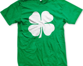 White Four Leaf Clover, St. Patrick's Day, Shamrock, Lucky Irish Men's T-shirt, NOFO_00115
