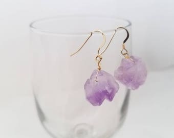 Amethyst Drop Earrings, February Birthstone Earrings, February Birthstone Earrings, Amethyst Earrings, Purple Short Earrings, Hook Earrings