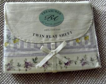 Vintage Rachel Ashwell Treasures Regent Park Lavender Floral Twin Flat Sheet Fabric sewbuzyb