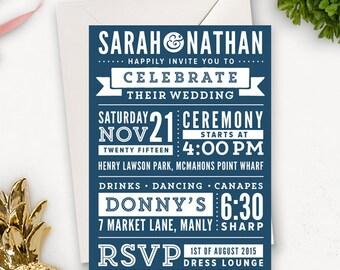 Subway Art Wedding Invitation Printable / Modern Wedding Invitation Template / Word Art Wedding Invites