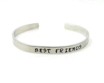 Best Friends Cuff, Friends Cuff, Custom Bracelet Cuff, Personalized Bracelet, Custom Cuff, Hand Stamped Cuff, Stainless Steel Cuff,