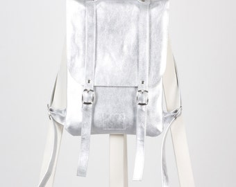 SALE ! / Silver colored leather backpack rucksack / In stock / Leather backpack / Leather rucksack / Womens backpack / Gift
