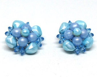 Gorgeous Vintage Estate Light Blue Rhinestone Blue Beaded Clip On Earrings Christmas Present - Holiday Gift