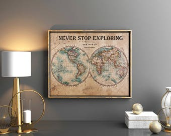 World map decor etsy vintage world map print vintage world map printable vintage world map download world map world art gumiabroncs Choice Image