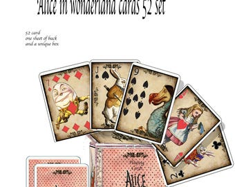 Alice in Wonderland printable cards 52 playing cards with backs and a box to keep them in. use as collage scrapbook or for games