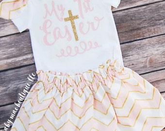 My 1st Easter Outfit, Baby Girl Biblical Easter; Baby Girl Easter Dress; My First Easter Bodysuit with Skirt: firsr Easter with cross