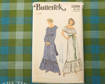 Women's Off Shoulder Dress Pattern / Butterick 5698 / Bust 34 / Two Piece Dress / Ruffle Off Shoulder Blouse / 70s Ruffle Skirt / QUICK LIST