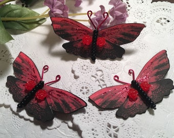 Black Lace Panties Blood Red Glass Bodied Butterflies 3D Roses DarlingArtByValeri Scrapbooking Embellishment Mini Albums Cards Wedding Gifts