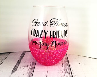 Personalised Stemless glitter Wine Glass with funny quote & name