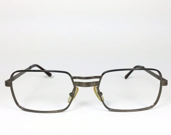 1960s Vintage Glasses | Retro Rectangle Eyeglasses | Grey Gunmetal Patina | NOS 60s Eyeglasses - Colt