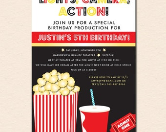 Movies & Popcorn Birthday Party Invitation (Digital File OR Cardstock Printed Cards Also Available)