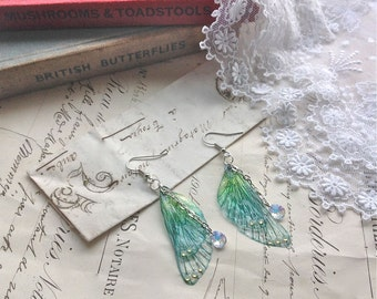 """Rather pretty Small  """"Blue Faerie wing earrings"""""""