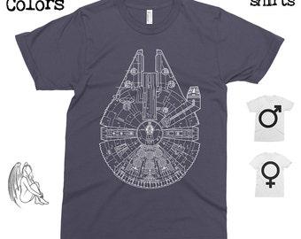 Millenium Falcon Blueprint T-shirt, Tee, American Apparel, Star Wars, Darth Vader, Luke Skywalker, obi wan, Yoda, R2D2, C3PO,  Cool Gift!