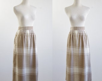 Vintage 1980s Plaid Skirt, 80s Skirt,  Beige and Cream Skirt, Knee Length Skirt, Wide Waistband Skirt, Flared A Line Skirt, Waist 32 Large