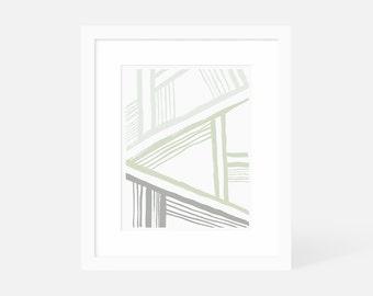 Modern Boho Wall Art / Modern Abstract Wall Art Green / Large Vertical Wall Art / 18x24 16x20 11x14 8x10 5x7 / Framed and Matted