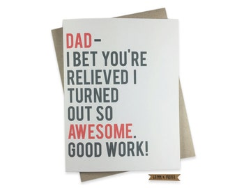 Funny Father's Day Card, Humorous Father's Day Card, For Dad, Father's Day Gift, Greeting Card for Dad, Family, Awesome, Sarcastic