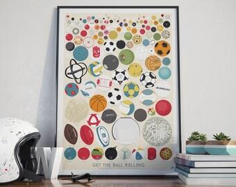 SALE The Collection of 127 Balls - Sports Poster, art print, retro, art, decor,