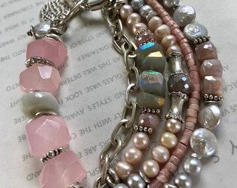 bracelet, opal bracelet, pink opal bracelet, moonstone bracelet, bohemian bracelet, boho chic bracelet, chalcedony bracelet, pink bracelet