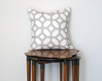 Graphic Trellis Print Pillow Cover, in Grey + White