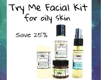 Natural Skincare Set for Oily or Combination Skin - Cleanser, Scrub, Toner and Moisturizer in Gift Box
