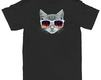 Kitten With Sunglasses On Shades Cats Feline Cool Funny Men's T-shirt SF_0043