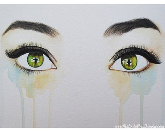 Seeing Into The Soul - Sensitive - Eye Art  - ART PRINT - 8 x 10 - By Mixed Media Artist Malinda Prudhomme