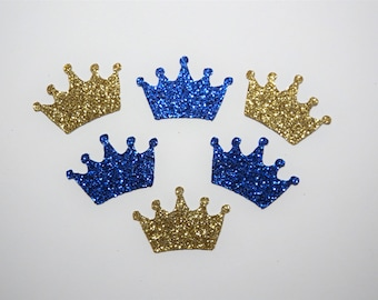 25 Gold and Royal Blue Glitter Crowns,Baby Shower,Confetti,Birthday,Princess,Prince,King