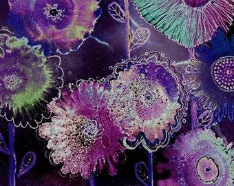 Flower Artwork, Contemporary Art, Trendy Art, Pink Abstract Painting, Alcohol Ink Art Print, Purple Floral Wall Art, Hippy Art, Giclee Print