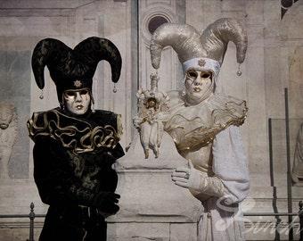 Large Fine Art  Venice Carnival Jester Art Photography Wall decor. Masquerade Print - Yin Yang Home Decor