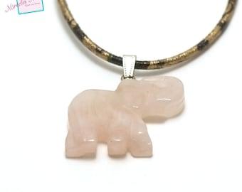 """1 pendant rose quartz """"elephant"""" 40 x 32 x 7 mm, natural stone"""