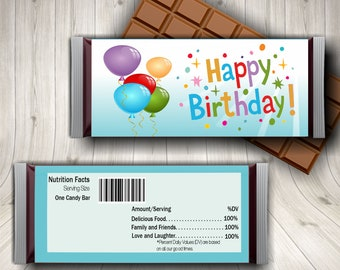 Happy Birthday Candy Bar Wrappers, Happy Birthday Hershey's Candy Bar Wrapper, Birthday Party, Birthday Favors, Birthday Gift Tags