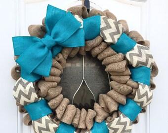 Burlap wreath, spring wreath, summer wreath, chevron burlap wreath, turquoise burlap wreah