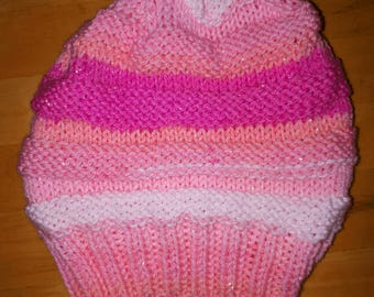 Pink Skies baby slouchy woolly hat