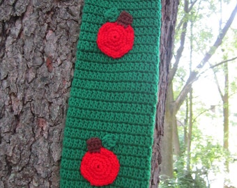 End of School Gift for Teacher, Crochet Plastic Bag Holder,  Primary Green with Red Apples, Back to School Gift, Apple Kitchen Decor