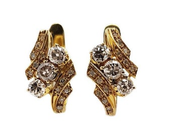 18K Yellow Gold Vintage Estate Diamond Earrings