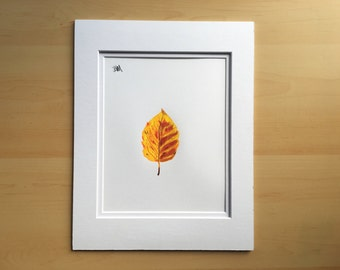 Wall art drawing, original colored pencil drawing, Fall decor, Autumn decor, leaf drawing, 11x14 pencil drawing, housewarming gift