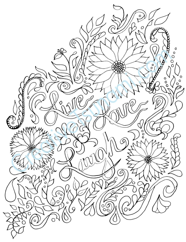 adult coloring page live love laugh